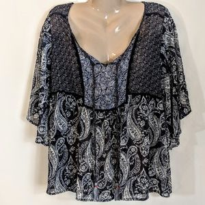 Knox Rose Tops - Blue Breezy Festival Hippie Boho Smock Top Sz L